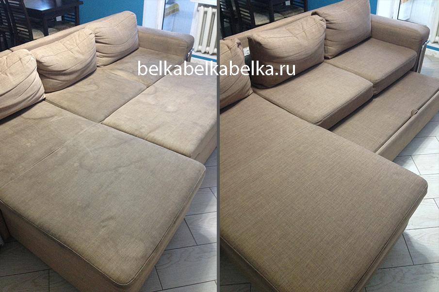 Химчистка текстильного углового дивана, разводы