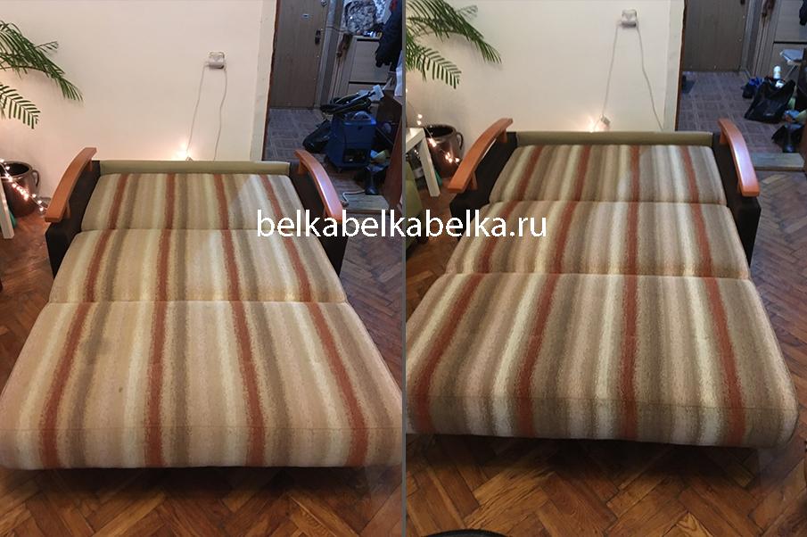 Химчистка трехместного дивана по типу раскладывания аккордеон