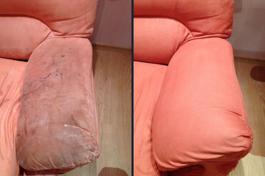 Удаление пятен от фломастера на подлокотнике дивана