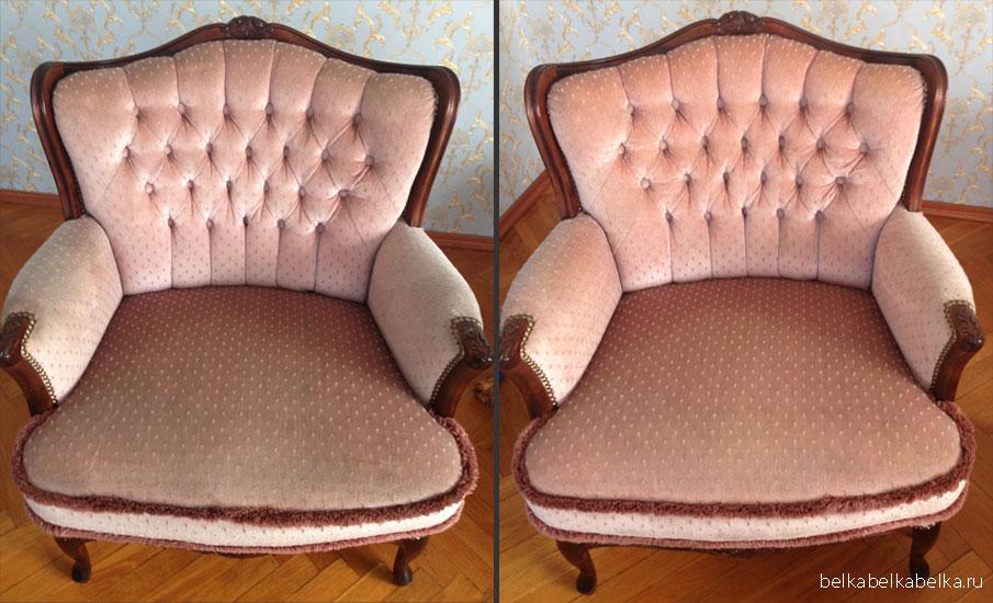 Химчистка светлого бархатного кресла с драпировкой на спинке