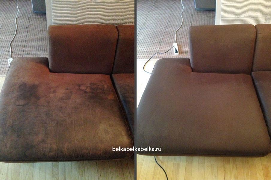 Химчистка темного текстильного дивана, очень сильное загрязнение