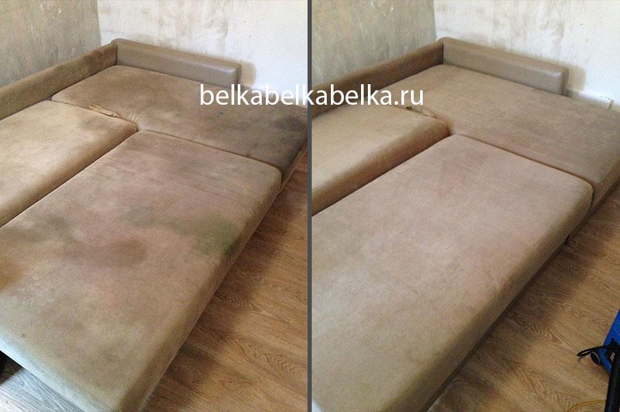 Химчистка углового дивана по типу раскладывания еврокнижка, пакет Стандарт 3d+